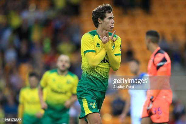 NORWICH ENGLAND JULY 30 Todd Cantwell of Norwich City celebrates his goal during the preseason Friendly match between Norwich City and Atalanta at...
