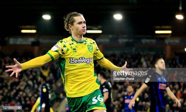 Todd Cantwell of Norwich City celebrates scoring to level the game 11 during the Sky Bet Championship match between Norwich City and Rotherham United...