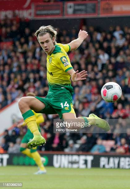 Todd Cantwell of Norwich City controls the ball during the Premier League match between AFC Bournemouth and Norwich City at Vitality Stadium on...