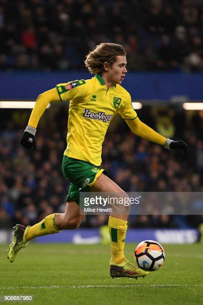 Todd Cantwell of Norwich City during The Emirates FA Cup Third Round Replay between Chelsea and Norwich City at Stamford Bridge on January 17 2018 in...