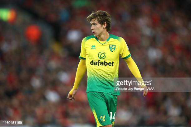 Todd Cantwell of Norwich City during the Premier League match between Liverpool FC and Norwich City at Anfield on August 9 2019 in Liverpool United...
