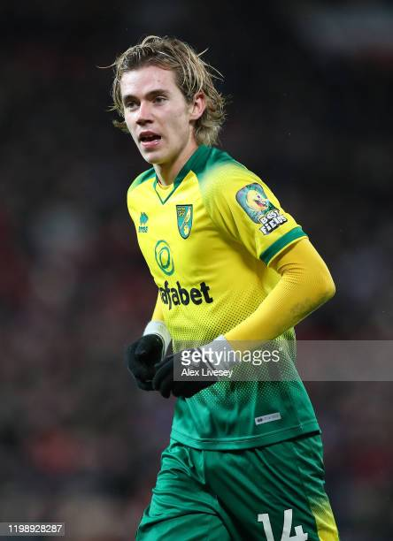 Todd Cantwell of Norwich City during the Premier League match between Manchester United and Norwich City at Old Trafford on January 11 2020 in...
