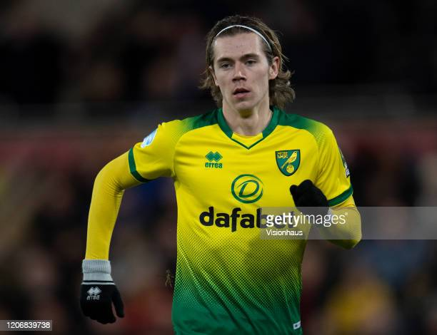Todd Cantwell of Norwich City during the Premier League match between Norwich City and Liverpool FC at Carrow Road on February 15 2020 in Norwich...