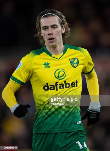 Todd Cantwell of Norwich City during the Premier League match between Norwich City and Liverpool FC at Carrow Road on February 15, 2020 in Norwich,...