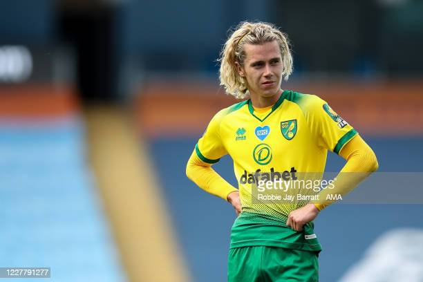 Todd Cantwell of Norwich City during the Premier League match between Manchester City and Norwich City at Etihad Stadium on July 26 2020 in...