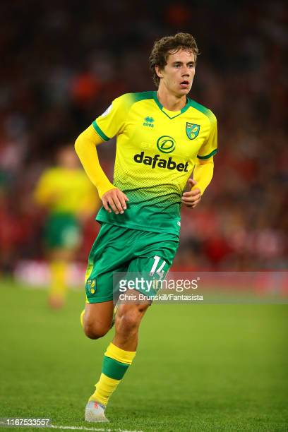 Todd Cantwell of Norwich City in action during the Premier League match between Liverpool FC and Norwich City at Anfield on August 09 2019 in...