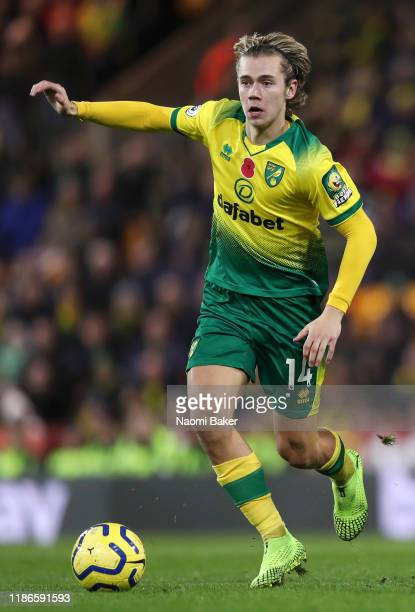 Todd Cantwell of Norwich City in action during the Premier League match between Norwich City and Watford FC at Carrow Road on November 08 2019 in...