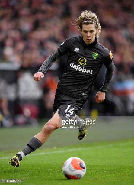 Todd Cantwell of Norwich City in action during the Premier League match between Sheffield United and Norwich City at Bramall Lane on March 07 2020 in...