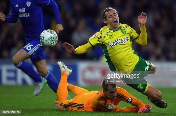 Todd Cantwell of Norwich City is fouled by Alex Smithies of Cardiff City only to be given offside during the Carabao Cup Second Round match between...