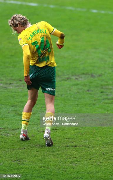 Todd Cantwell of Norwich City looks at his shorts during the Sky Bet Championship match between Barnsley and Norwich City at Oakwell Stadium on May...