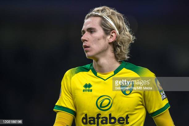 Todd Cantwell of Norwich City looks on during the FA Cup Fifth Round match between Tottenham Hotspur and Norwich City at Tottenham Hotspur Stadium on...