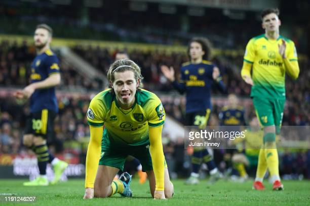 Todd Cantwell of Norwich City reacts during the Premier League match between Norwich City and Arsenal FC at Carrow Road on December 01 2019 in...
