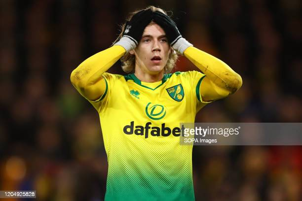 Todd Cantwell of Norwich City reacts during the Premier League match between Norwich City and Leicester City at Carrow Road Final Score Norwich City...