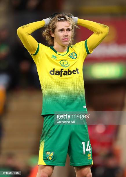 Todd Cantwell of Norwich City reacts during the Premier League match between Norwich City and Liverpool FC at Carrow Road on February 15 2020 in...