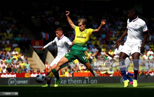 Todd Cantwell of Norwich City scores his first goal during the Premier League match between Norwich City and Chelsea FC at Carrow Road on August 24...