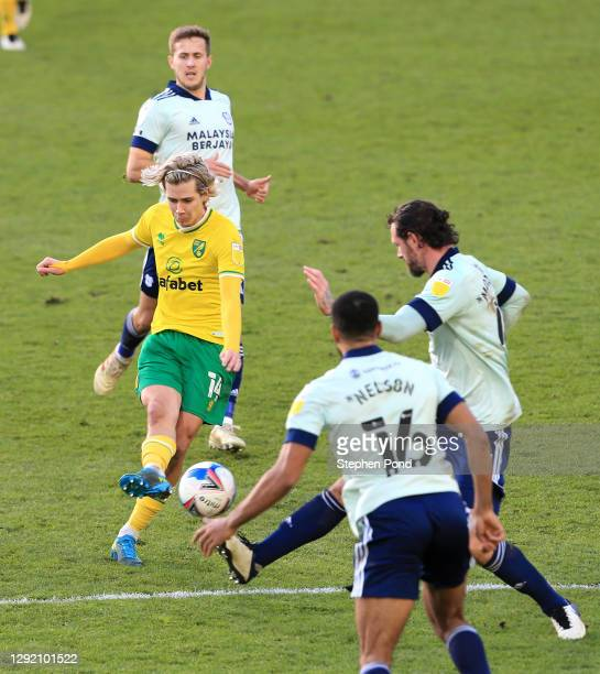 Todd Cantwell of Norwich City scores his sides second goal during the Sky Bet Championship match between Norwich City and Cardiff City at Carrow Road...