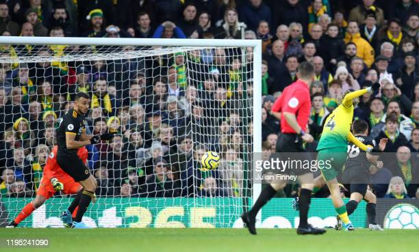 Todd Cantwell of Norwich City scores his team's first goal during the Premier League match between Norwich City and Wolverhampton Wanderers at Carrow...