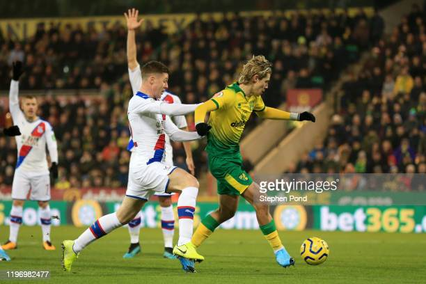 Todd Cantwell of Norwich City scores his team's first goal during the Premier League match between Norwich City and Crystal Palace at Carrow Road on...