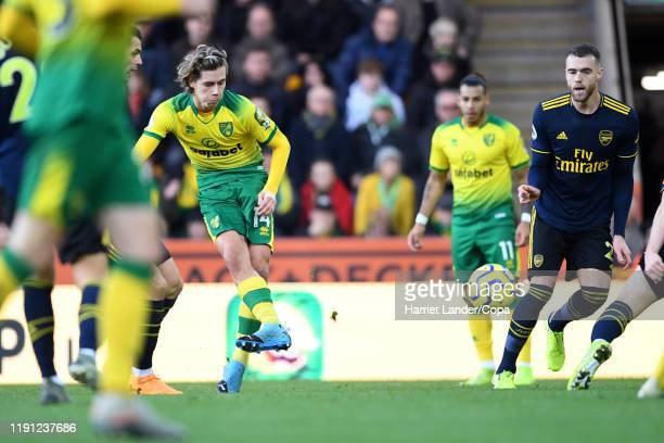 Todd Cantwell of Norwich City scores his team's second goal during the Premier League match between Norwich City and Arsenal FC at Carrow Road on...