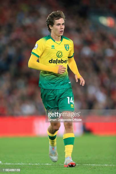 Todd Cantwell of Norwich in action during the Premier League match between Liverpool and Norwich City at Anfield on August 9 2019 in Liverpool United...