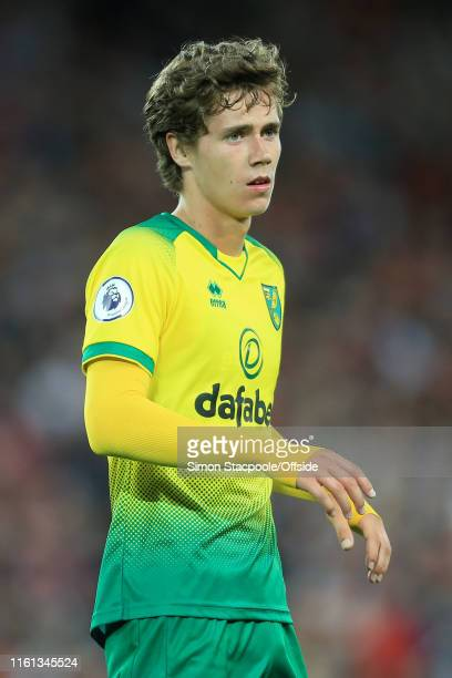 Todd Cantwell of Norwich looks on during the Premier League match between Liverpool and Norwich City at Anfield on August 9 2019 in Liverpool United...