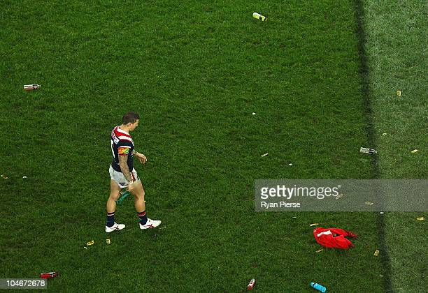 Todd Carney of the Roosters looks dejected after the NRL Grand Final match between the St George Illawarra Dragons and the Sydney Roosters at ANZ...