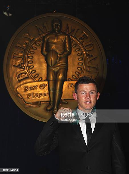 Todd Carney poses with the Dally M medal at the 2010 Dally M Awards at the State Theatre on September 7 2010 in Sydney Australia