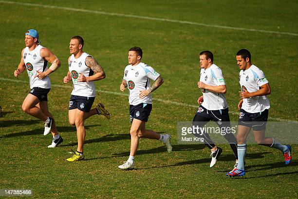 Todd Carney warms up during a New South Wales Blues State of Origin training session at WIN Jubilee Stadium on June 29 2012 in Sydney Australia
