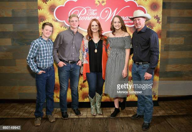 Todd Drummond, Bryce Drummond, Ree Drummond, Paige Drummond ,and Ladd Drummond attend The Pioneer Woman Magazine Celebration with Ree Drummond at The...