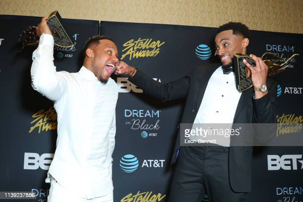Todd Dulaney and Jonathan McReynolds pose with their trophies in the press room at the 34th annual Stellar Gospel Music Awards at the Orleans Arena...