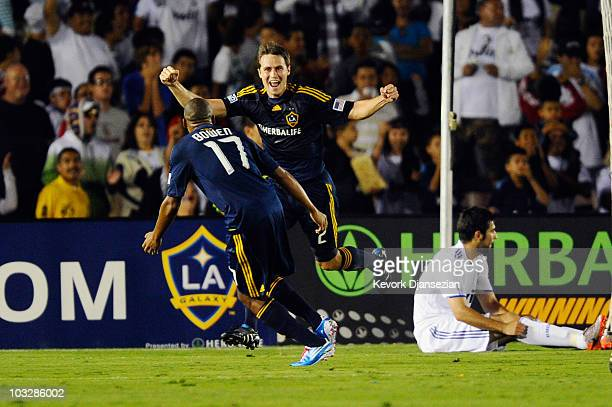 Todd Dunivant of Los Angeles Galaxy celebrates his goal against Real Madrid with teammate Tristan Bowen during their preseason friendly soccer match...
