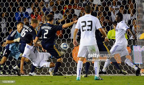 Todd Dunivant of Los Angeles Galaxy scores a goal against of Real Madrid during their preseason friendly soccer match on August 7 2010 at the Rose...