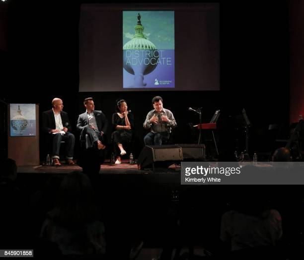 Todd Dupler Brian Hinman Minna Choi and Gino Robair participate in a town hall event held at The Chapel on September 11 2017 in San Francisco...