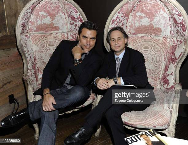 Todd English and Niche Media CEO Jason Binn attend the kick off of the NYC Wine Food Festival with Allen Brothers Steaks presented by Infiniti at...