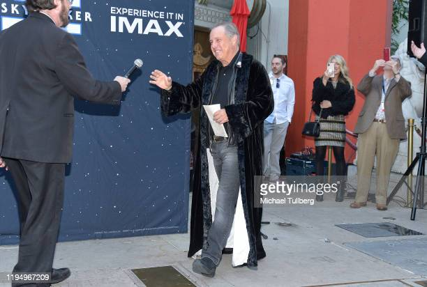 """Todd Fisher, brother of the late actress Carrie Fisher, speaks at the IMAX opening of """"Star Wars: The Rise Of Skywalker"""" at TCL Chinese Theatre on..."""