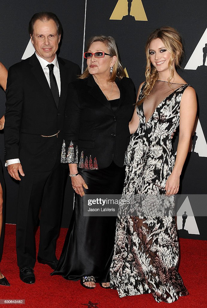 Todd Fisher, Carrie Fisher and Billie Lourd attend the 7th annual Governors Awards at The Ray Dolby Ballroom at Hollywood & Highland Center on November 14, 2015 in Hollywood, California.