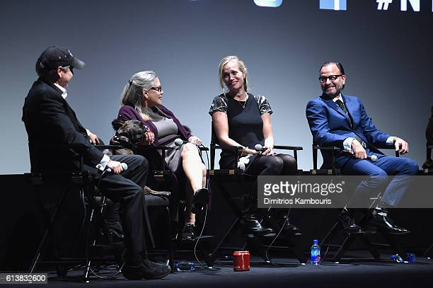 Todd Fisher Carrie Fisher director Alexis Bloom and Fisher Stevens speak onstage at 'Bright Lights' Intro and QA at Alice Tully Hall Lincoln Center...