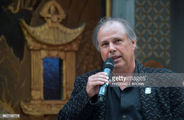Todd Fisher speaks before unveiling the etched granite plaque for his sister the late Carrie Fisher unveiled in front of the TCL Chinese Theater on...