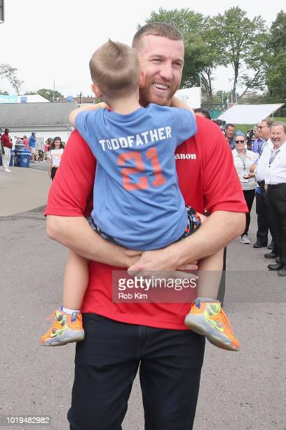 Todd Frazier and Blake Frazier attend Canon LLWS 2018 at Little League International Complex on August 19 2018 in South Williamsport Pennsylvania