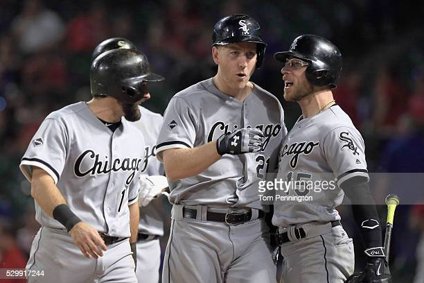 Todd Frazier of the Chicago White Sox celebrates with Adam Eaton of the Chicago White Sox and Brett Lawrie of the Chicago White Sox after hitting a...