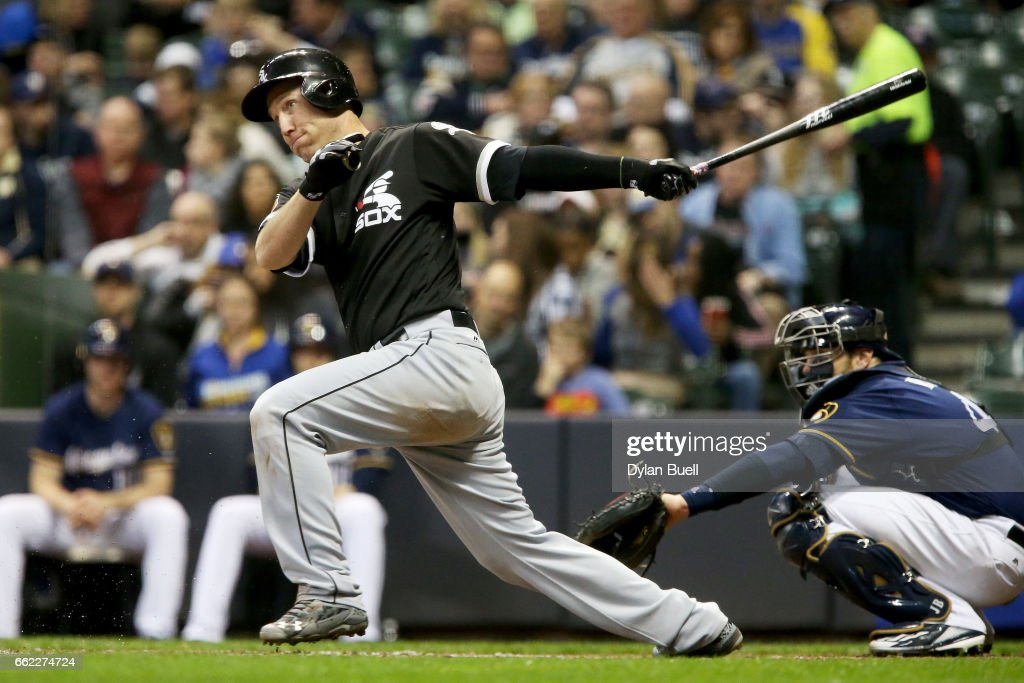 Todd Frazier #21 of the Chicago White Sox grounds out in the seventh inning against the Milwaukee Brewers during an exhibition game at Miller Park on March 31, 2017 in Milwaukee, Wisconsin.