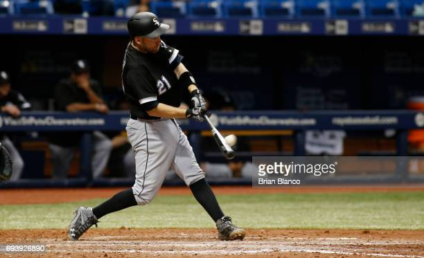 Todd Frazier of the Chicago White Sox hits a tworun home run off of pitcher Ryne Stanek of the Tampa Bay Rays during the eighth inning of a game on...