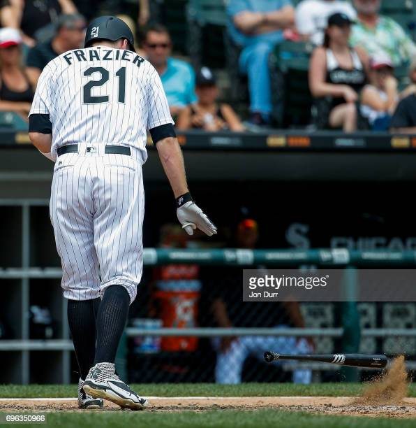 Todd Frazier of the Chicago White Sox throws his bat after striking out against the Baltimore Orioles to end the third inning at Guaranteed Rate...