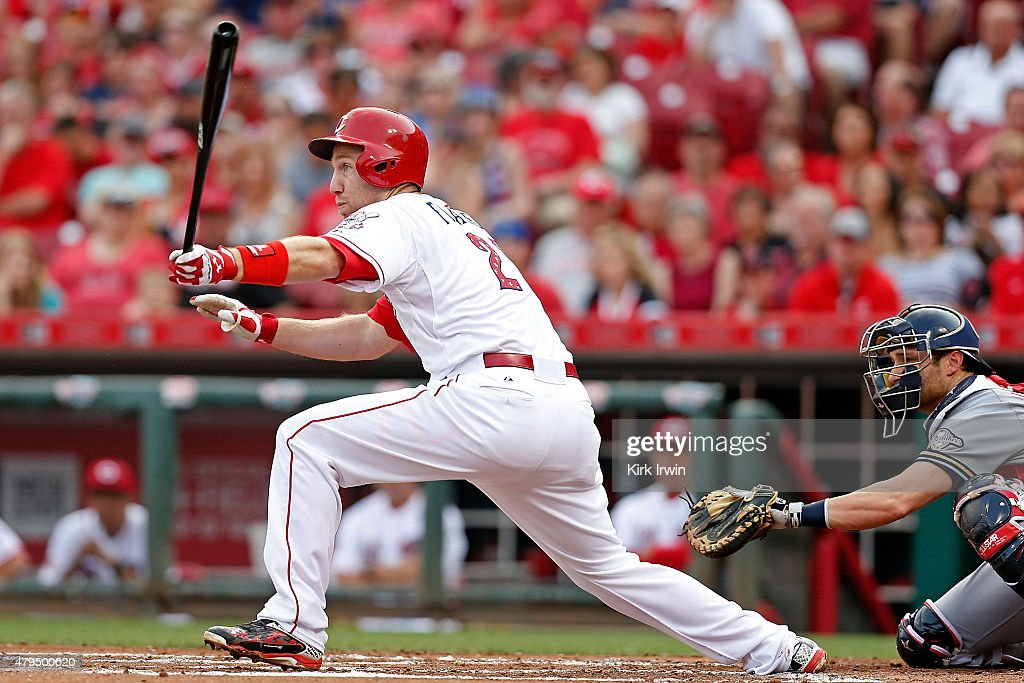 Todd Frazier #21 of the Cincinnati Reds hits a double off of Jimmy Nelson #52 of the Milwaukee Brewers during the first inning at Great American Ball Park on July 4, 2015 in Cincinnati, Ohio.