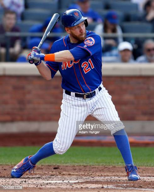 Todd Frazier of the New York Mets at bat during the fourth inning against the Miami Marlins at Citi Field on September 30 2018 in the Flushing...