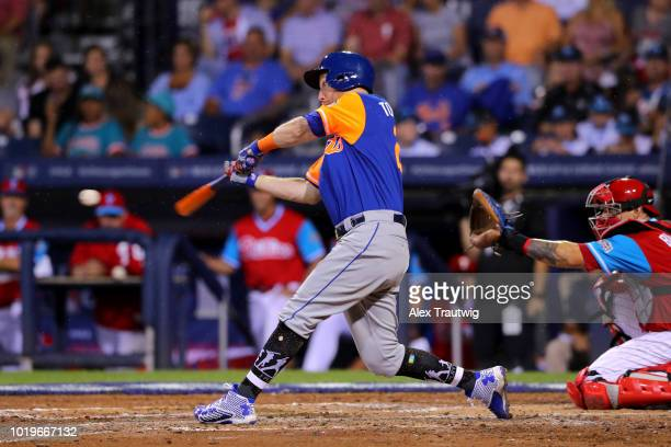 Todd Frazier of the New York Mets bats during the 2018 Little League Classic against the Philadelphia Phillies at Historic Bowman Field on Sunday...