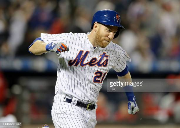 Todd Frazier of the New York Mets celebrates after he hit a grand slam in the fifth inning against the Philadelphia Phillies at Citi Field on April...