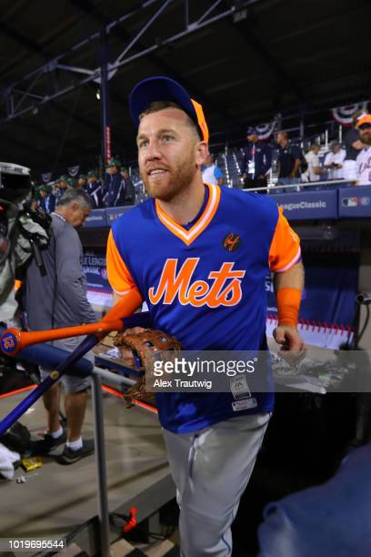 Todd Frazier of the New York Mets jogs back onto the field after the Mets defeated the Philadelphia Phillies in the 2018 Little League Classic at...