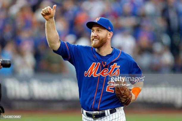 Todd Frazier of the New York Mets reacts after defeating the Miami Marlins at Citi Field on September 30 2018 in the Flushing neighborhood of the...