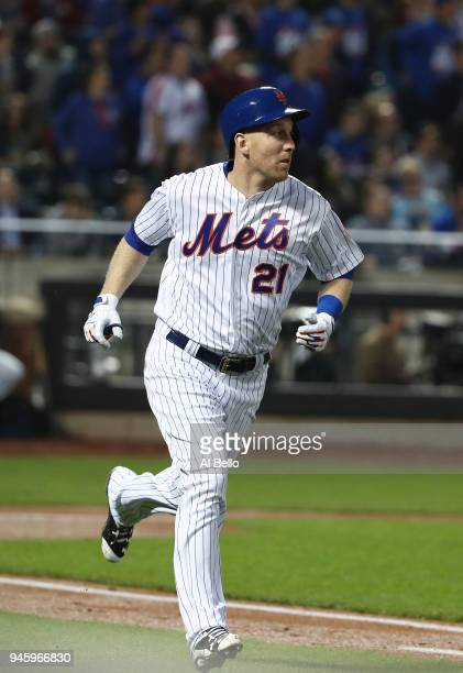 Todd Frazier of the New York Mets rounds the bases after hitting a home run against Zach Davies of the Milwaukee Brewers during their game at Citi...